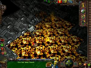 Pyrite monster walks on lava