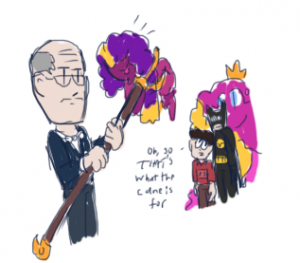slimebaby gets stuck and alfred has to pry her off