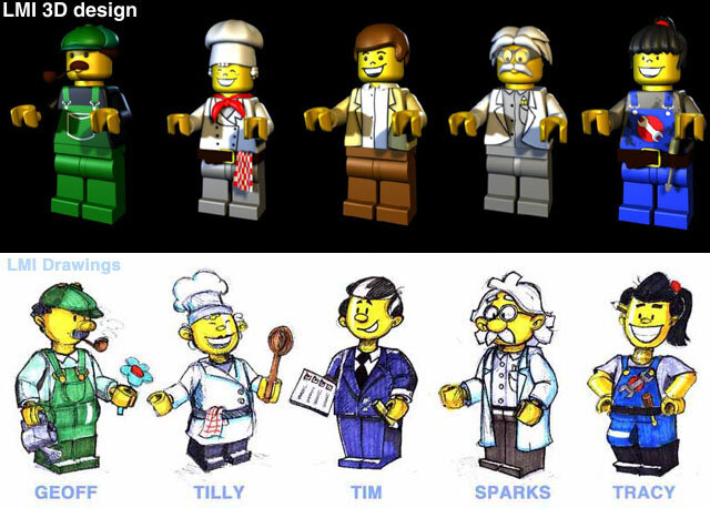 """characters2"" - LEGOLAND Character sketches + Renders"